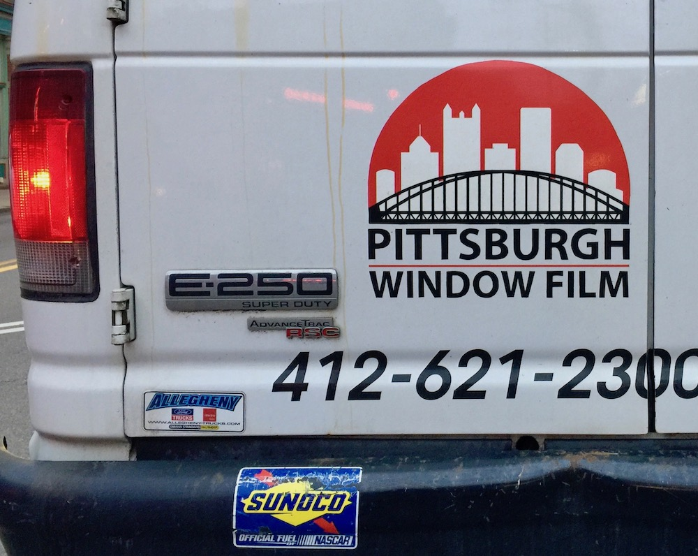 logo for Pittsburgh Window Film including downtown Pittsburgh skyline