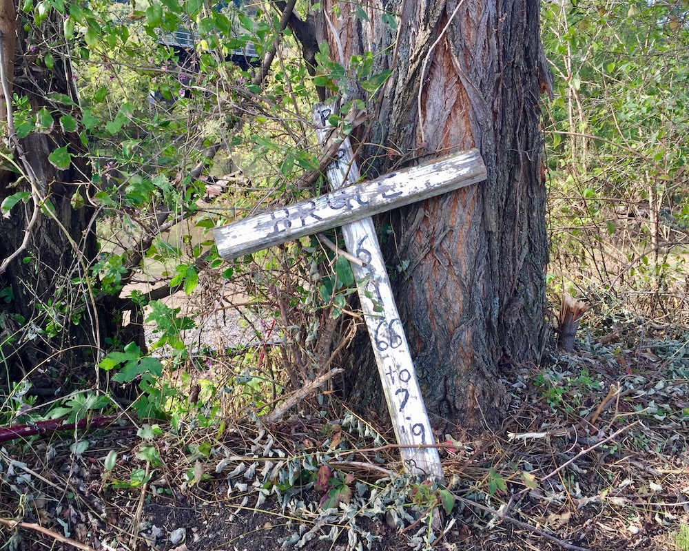 memorial cross placed at base of tree