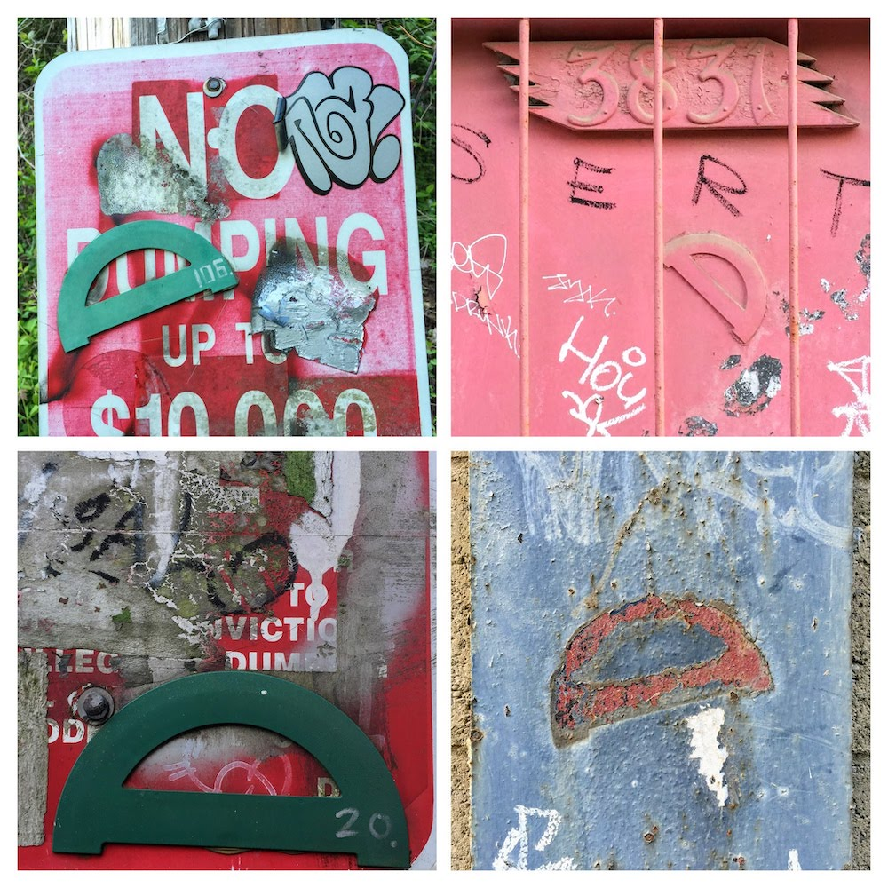 collage of protractors glued to various walls and signs