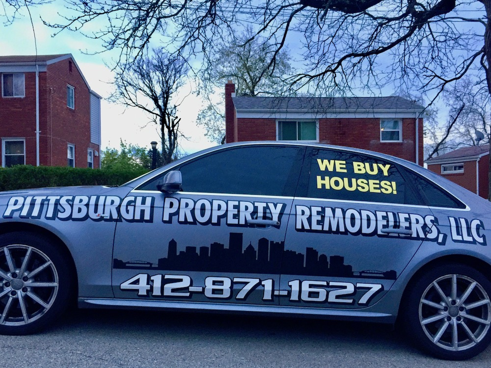 car with wrap advertising for Pittsburgh Property Remodelers