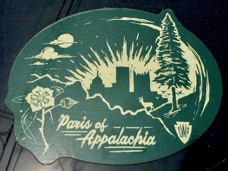 """sticker with silhouette of downtown Pittsburgh skyline and text """"Paris of Appalachia"""""""