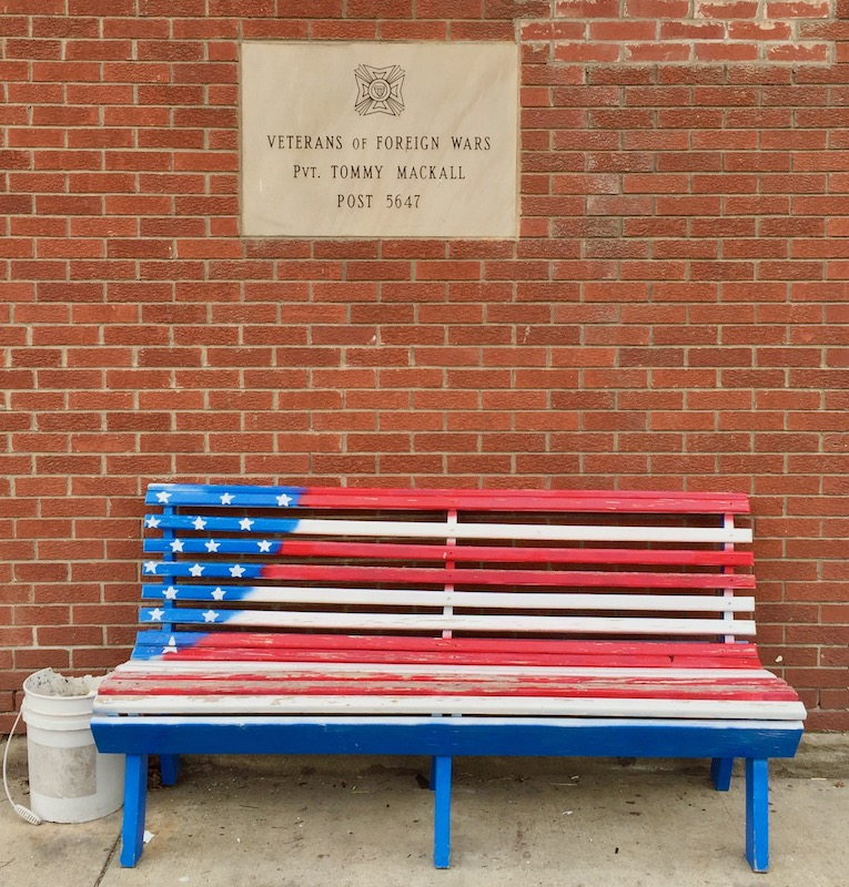 bench painted like the American flag