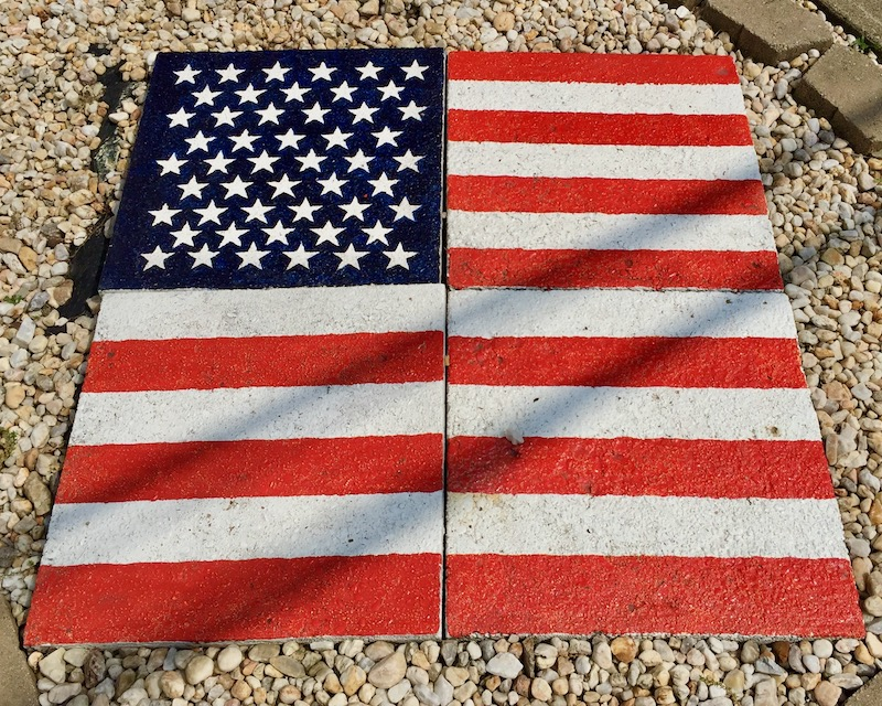 cement garden tiles painted like the American flag