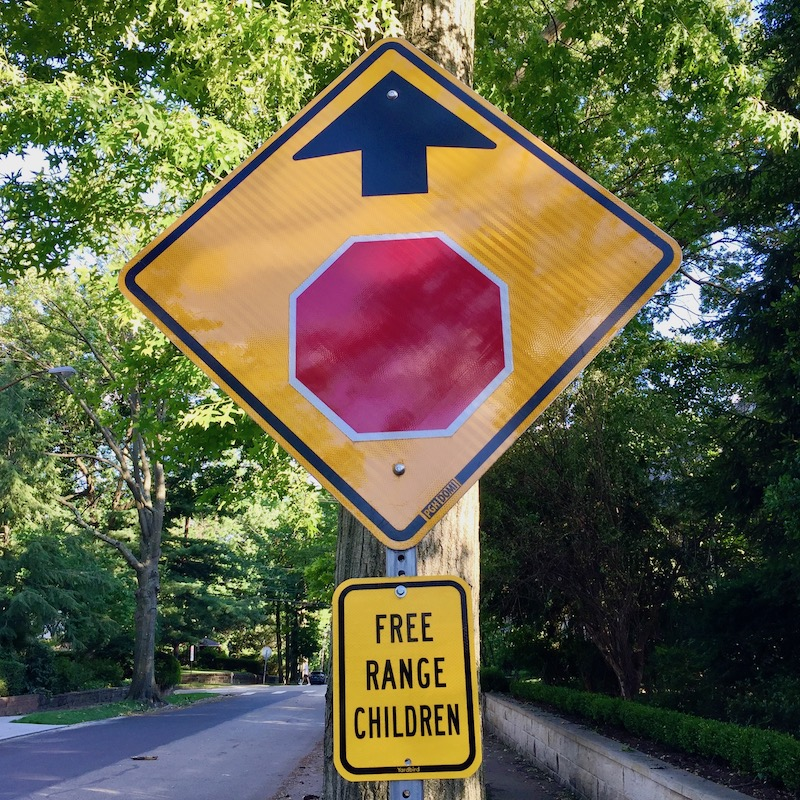 """stop ahead sign with added extra sign reading """"free range children"""""""