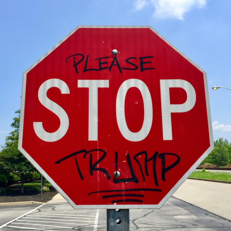 """stop sign altered to read """"Please stop Trump"""""""
