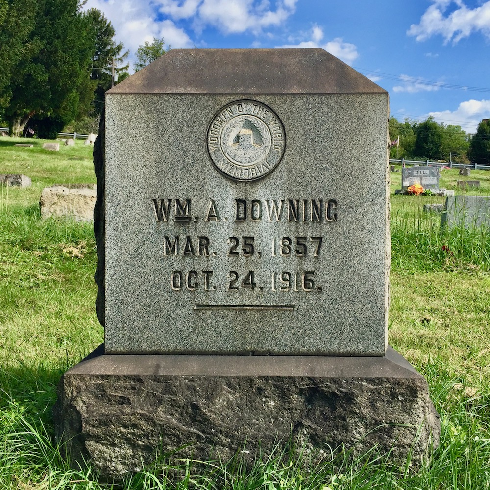 grave marker with seal of the Woodmen of the World, Richland Cemetery, Dravosburg, PA