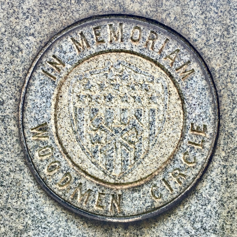 detail of seal of the Woodmen Circle, Richland Cemetery, Dravosburg, PA