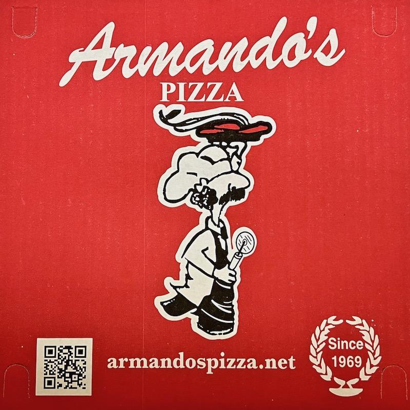 image of cartoon pizza maker on box top for Armando's Pizza