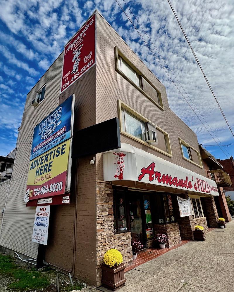 exterior of Armando's Pizza in Charleroi, PA